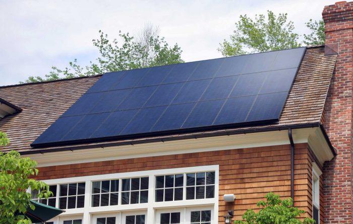 panels on wood siding house