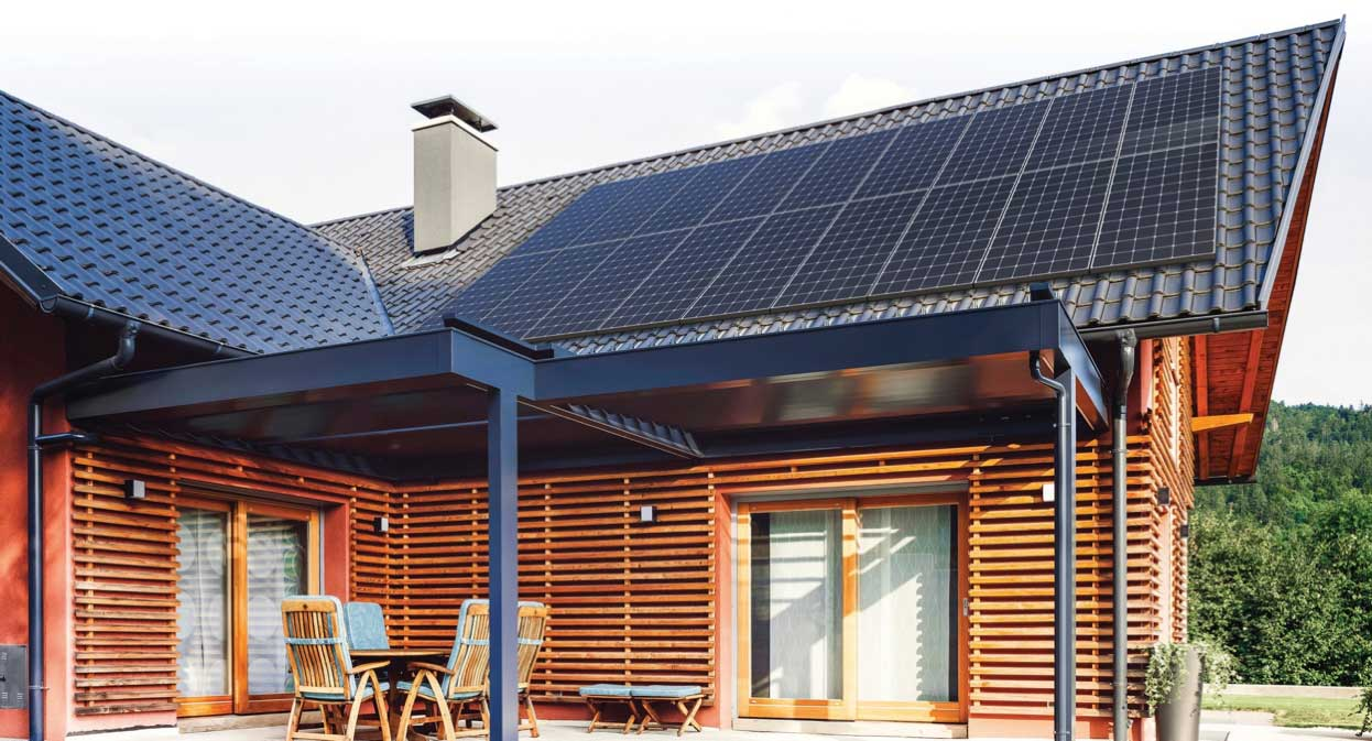 Rustic Home with Solar Panels on Roof