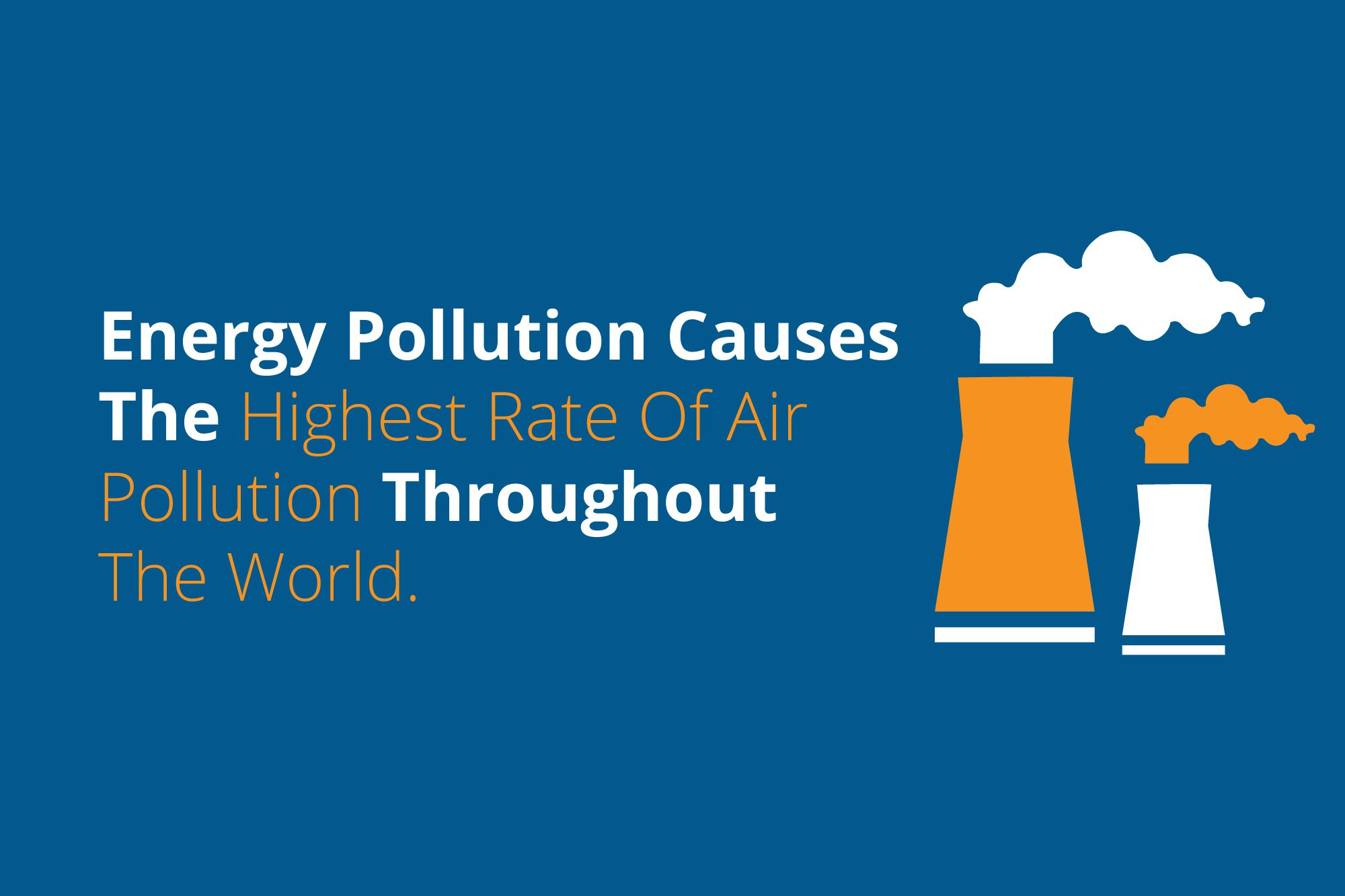 Infographic that reads: Energy pollution causes the highest rate of air pollution in the world