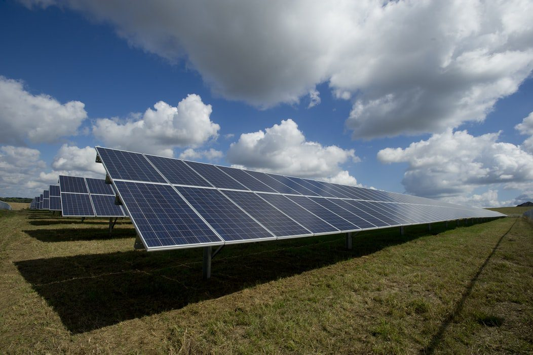 Solar panels in the grass
